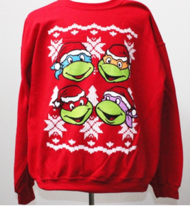 SOMEONE needs an ugly TMNT Christmas sweater! Also available: Ugly Cobra Commander, Optimus Prime, or Star Trek