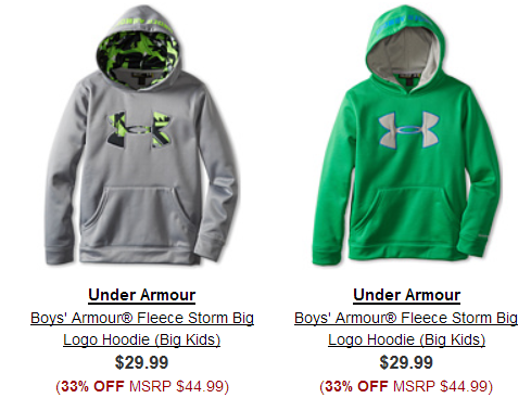 6PM is having a huge sale on athletic items today, and everything ships free! Check out these big logo Under Armour boys' fleece hoodies for just $29.99