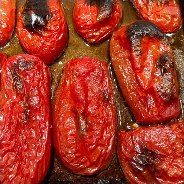 fire roasted tomatoes on cookie sheet