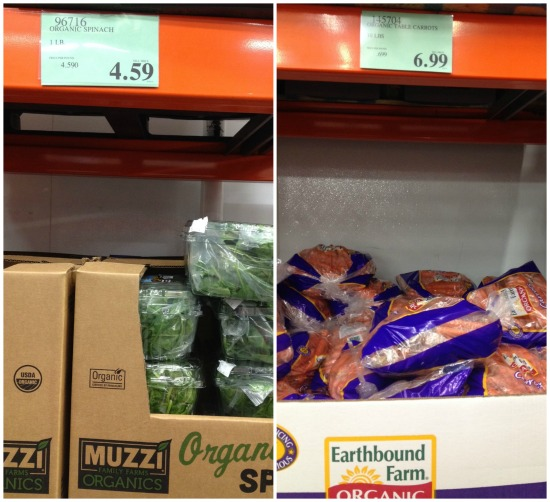 How much do organic products cost at Costco?