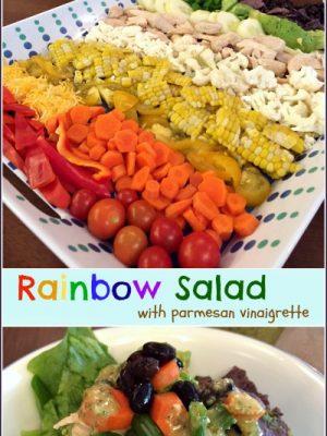Rainbow Salad with Homemade Parmesan Vinaigrette