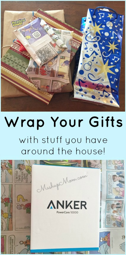 wrap gifts with stuff around the house