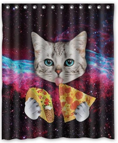 Anyone Need A New Shower Curtain? No? How About Now?! Why Do I Ask? No Real  Reason, Other Than That This One Features: A Cat, In Space, Eating Pizza,  ...