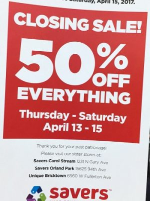 Next up in stores that are closing: Savers is 50% off