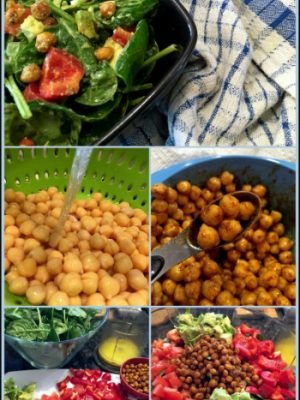 Spinach Salad with Roasted Chickpeas and Lemon Garlic Dressing