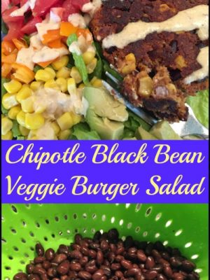 Chipotle Black Bean Veggie Burger Salad — with Creamy Chipotle-Lime Dressing
