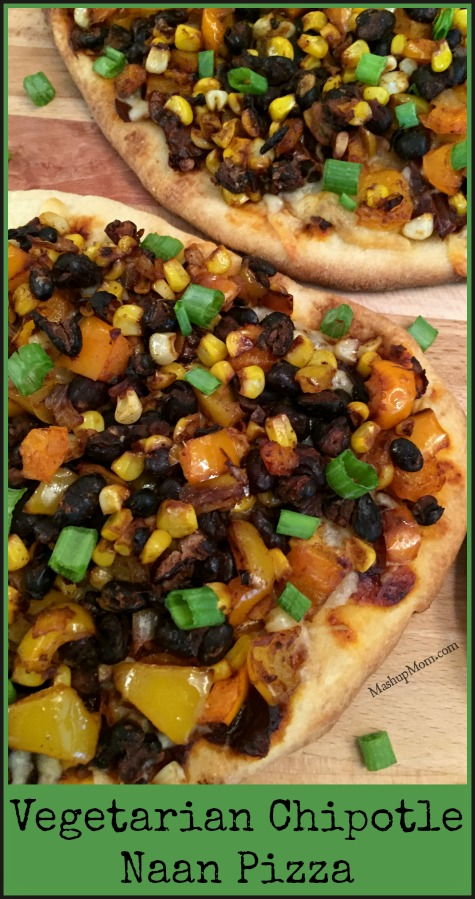 vegetarian chipotle naan pizza