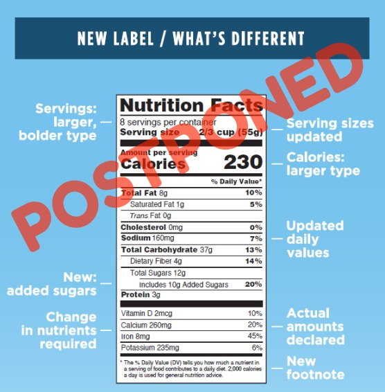 new nutrition labels postponed