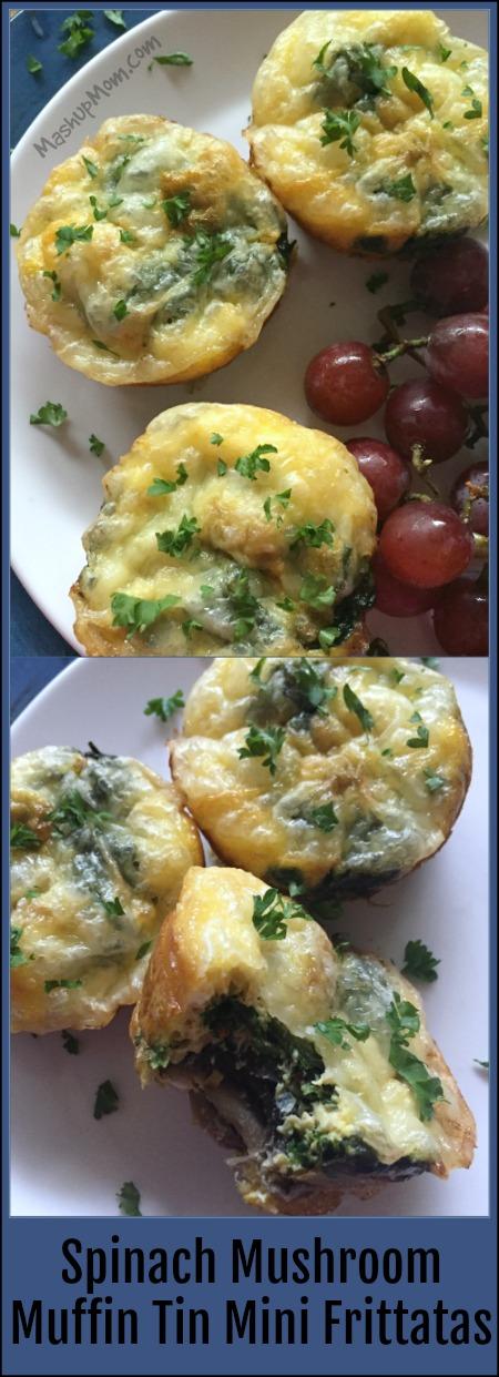 spinach mushroom muffin tin mini frittatas