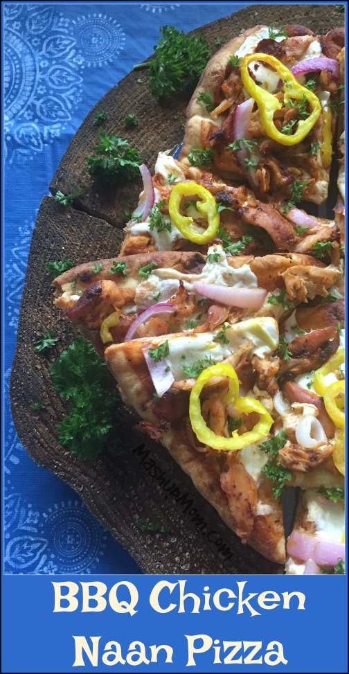 naan pizza with BBQ chicken