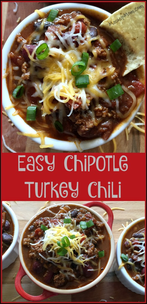Easy chipotle turkey chili is hearty, filling, and takes just 45 minutes!