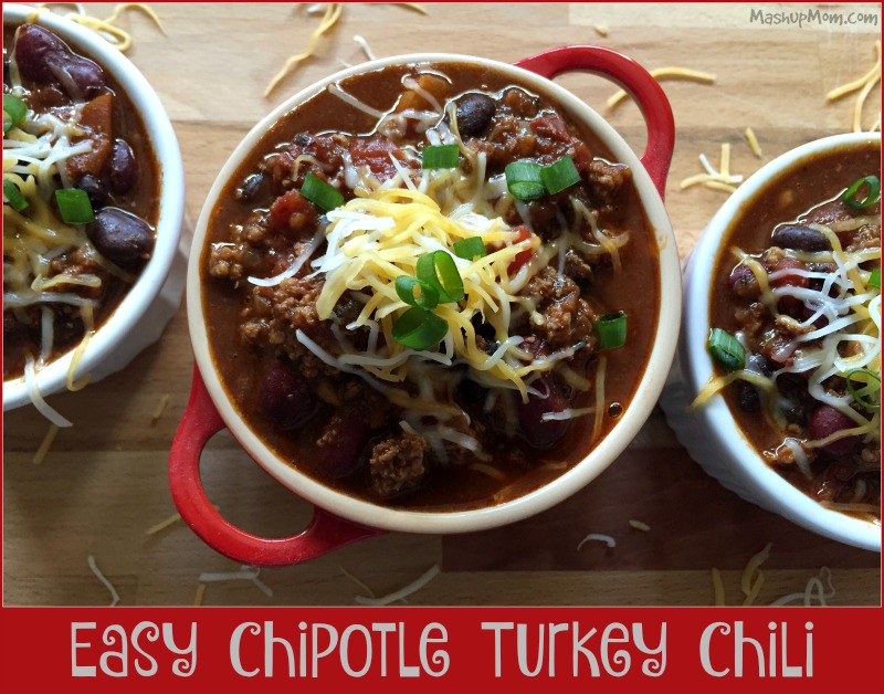Easy Chipotle Turkey Chili is hearty & full of flavor!