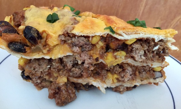 enchilada pie showing layers