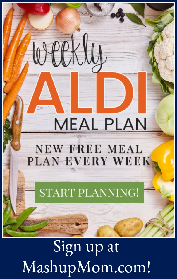 Sign up for free ALDI meal plans here -- a new ALDI meal plan every single week! Save time and money with meal planning, and cook up six complete dinners for four, $60 out the door.