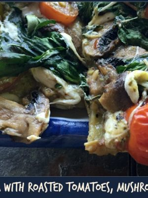Naan Pesto Pizza with Roasted Tomatoes, Mushrooms, and Spinach!