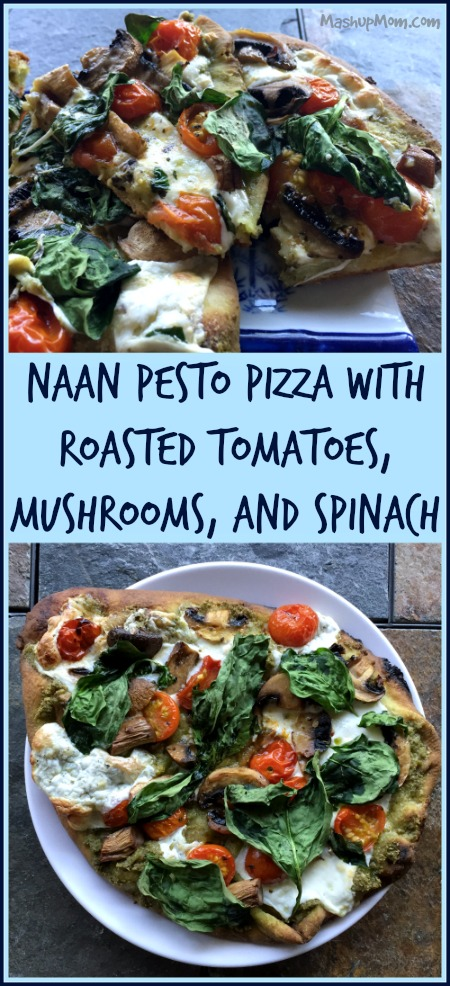 vegetarian naan pesto pizza
