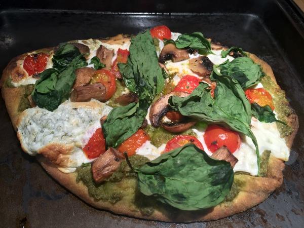pesto naan pizza