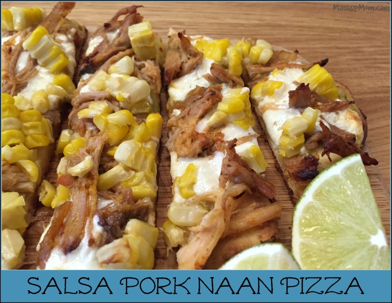 sliced salsa pork naan pizza