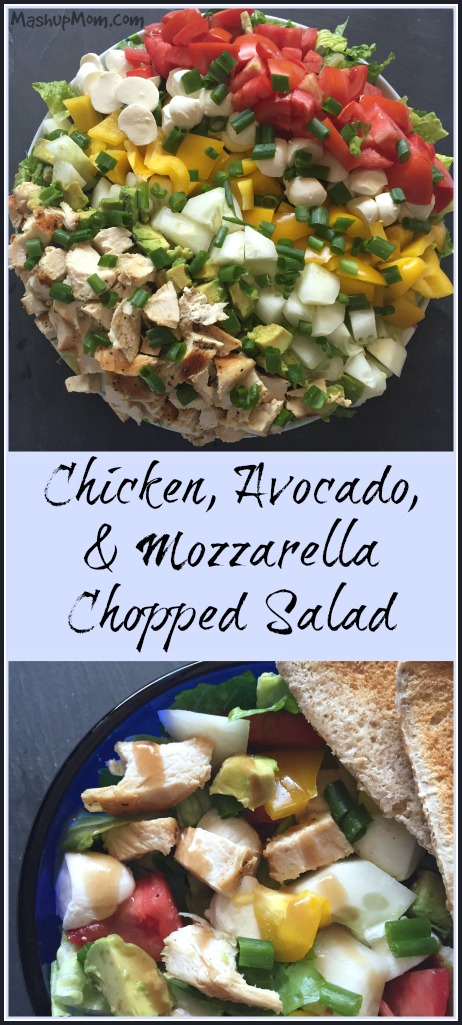 Chicken, avocado, and mozzarella chopped salad -- An easy light weeknight dinner recipe!