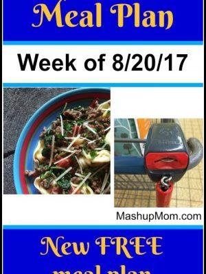 Free ALDI Meal Plan week of 8/20/17 – 8/26/17