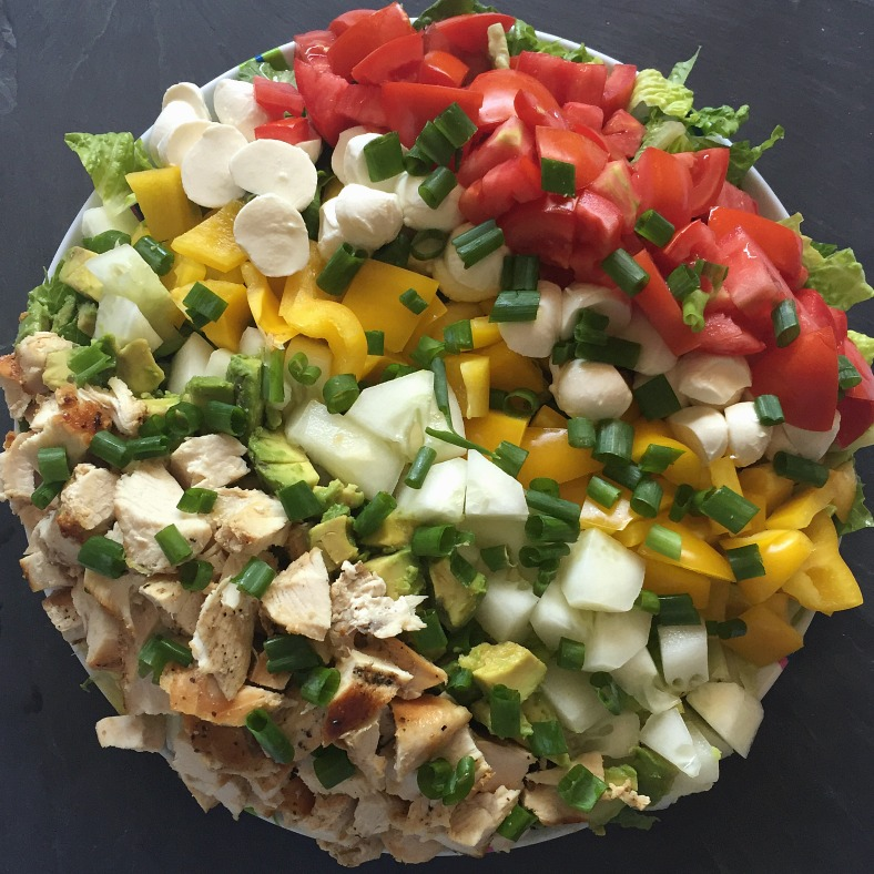 chopped chicken avocado mozzarella salad
