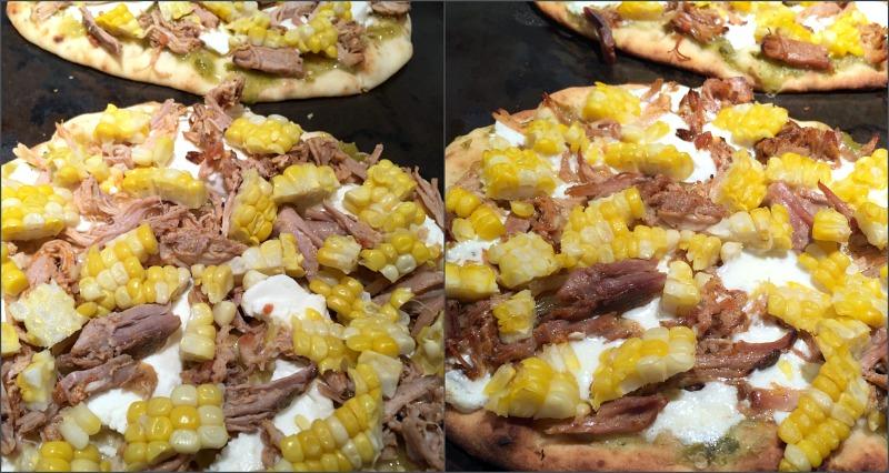 salsa pork naan pizza on baking sheet