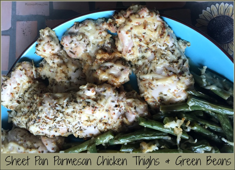 sheet pan parmesan chicken thighs & green beans