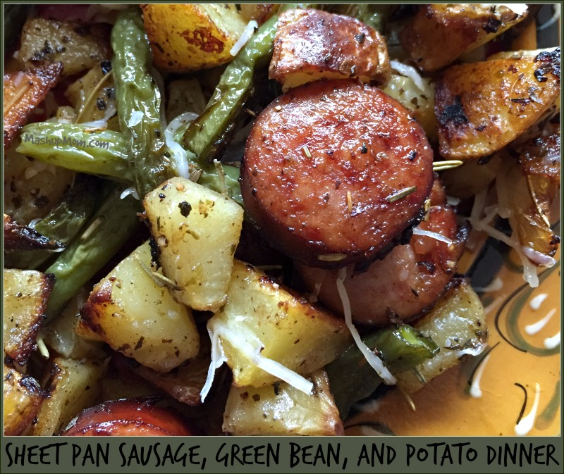 sheet pan sausage, green bean, and potato dinner.