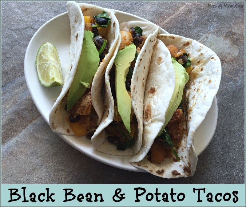 black bean and potato tacos