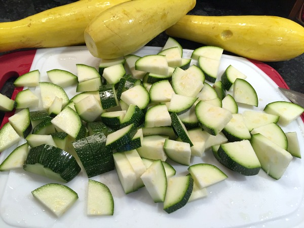 cut up your squash and zucchini