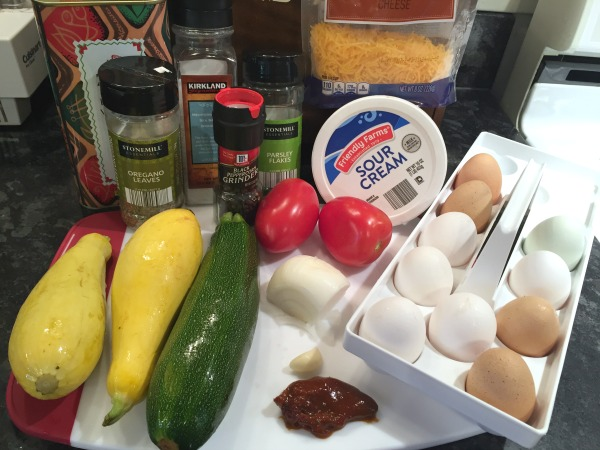 summer squash + tomato frittata ingredients