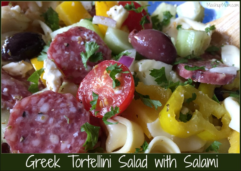 Greek Tortellini Salad with Salami: A super easy & flavorful cold pasta salad dinner. Jam-packed with color and flavor; almost as easy as boiling water!