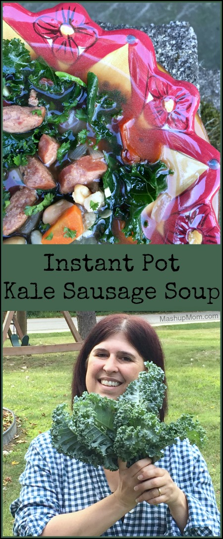 An easy recipe for Instant Pot kale sausage soup -- naturally gluten free!