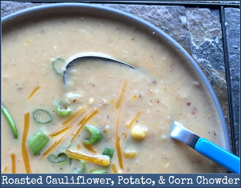 Roasted Cauliflower, Potato, and Corn Chowder is straight up vegetarian comfort food in a bowl for Meatless Monday.