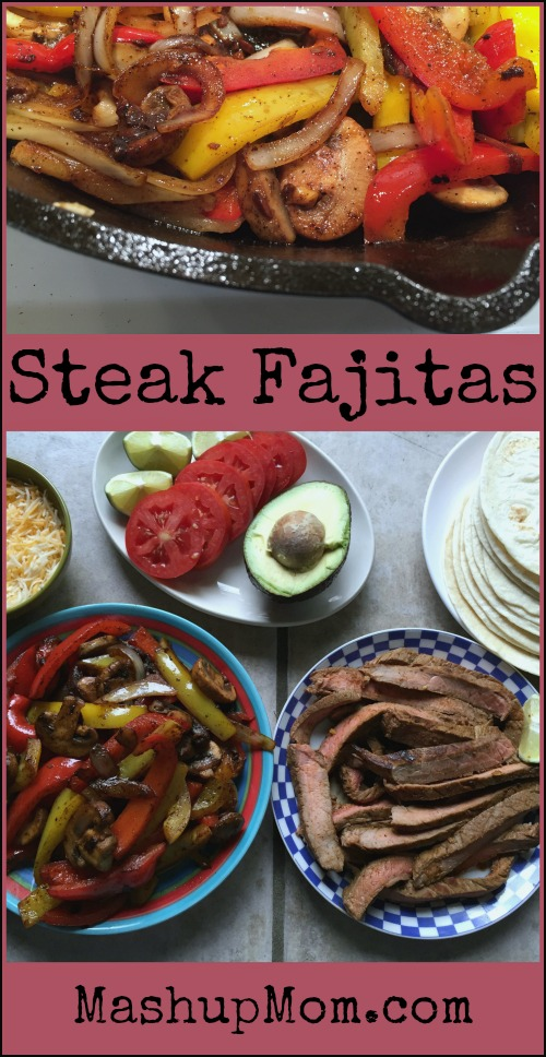 Easy steak fajitas recipe with onions, pepper, and mushrooms -- Gluten free (use GF tortillas) and low carb (use a low carb wrap)!
