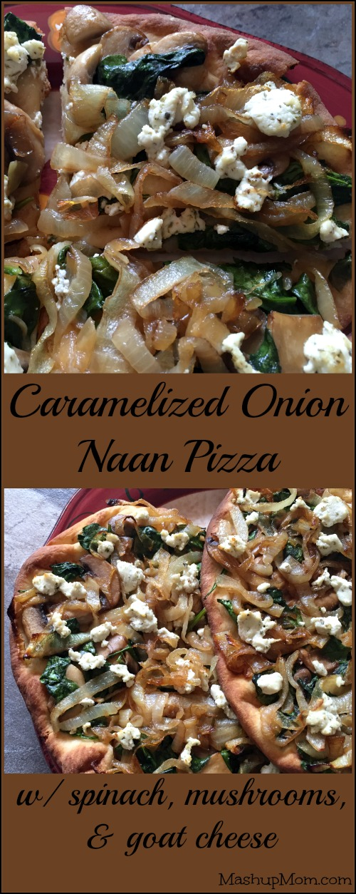 Caramelized Onion Naan Pizza With Spinach, Mushrooms, and Goat Cheese is the perfect flavor-packed vegetarian pizza recipe for your next Meatless Monday!