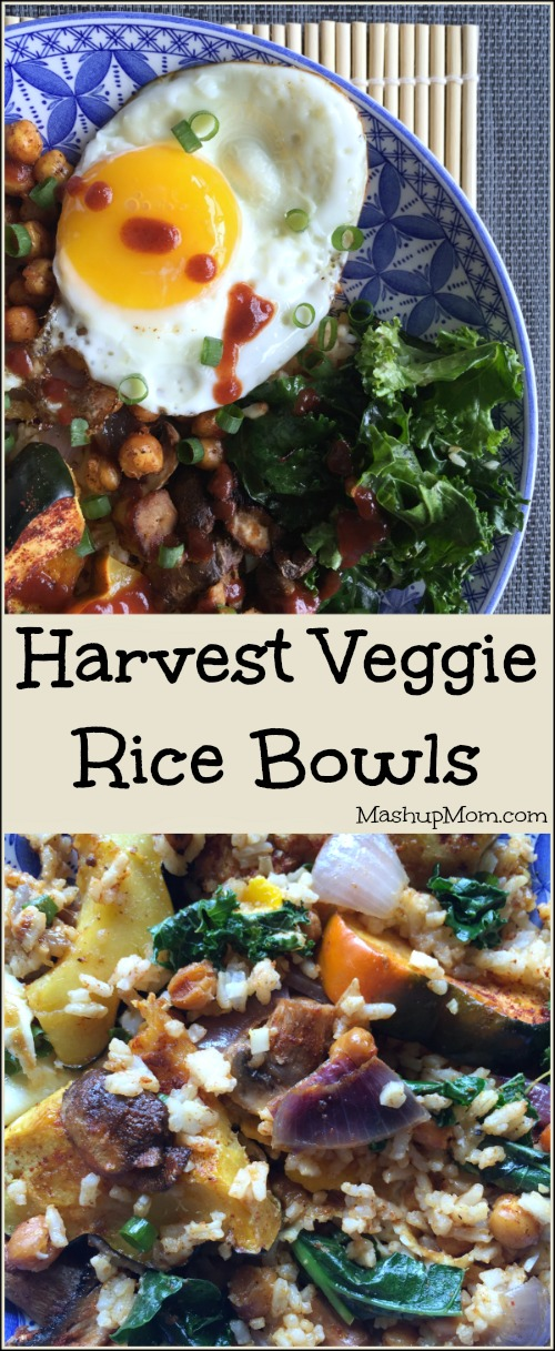 Harvest Vegetable Rice Bowls are a flavor-packed, protein-packed, veggie-packed Meatless Monday vegetarian dinner option -- also great for lunches!