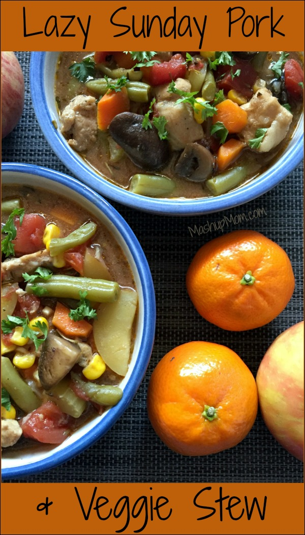 Packed with potatoes, veggies, and tender chunks of pork, this flavor-packed Pork & Vegetable Stew is just the right comfort food recipe for a fall day.