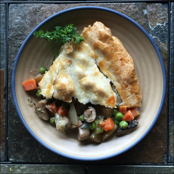 This vegetarian pot pie recipe fits the comfort-food bill nicely as a vegetable pot pie recipe that's just brimming with veggies and creamy pot pie filling -- all topped with a flaky pie crust.