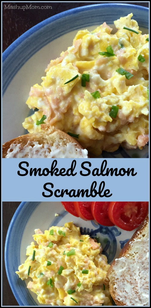 This Smoked Salmon Scramble recipe hits the spot with slightly different take on lox & cream cheese, and adding eggs helps you stretch a small package of pricey smoked salmon to feed a whole family. Naturally low carb and gluten free.