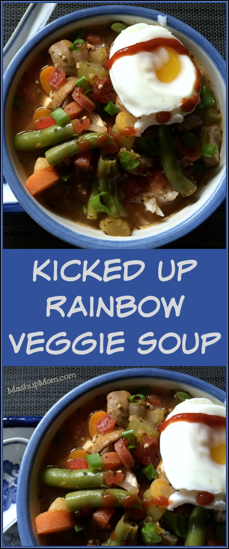 Kicked up rainbow vegetable soup isnot ramen by any stretch of the imagination, but its spicy, savory, and good -- and it hit the spot with just enough of that spicy-savory ramen-type flavor I was craving. Try it for a different twist on your usual vegetable soup recipe.