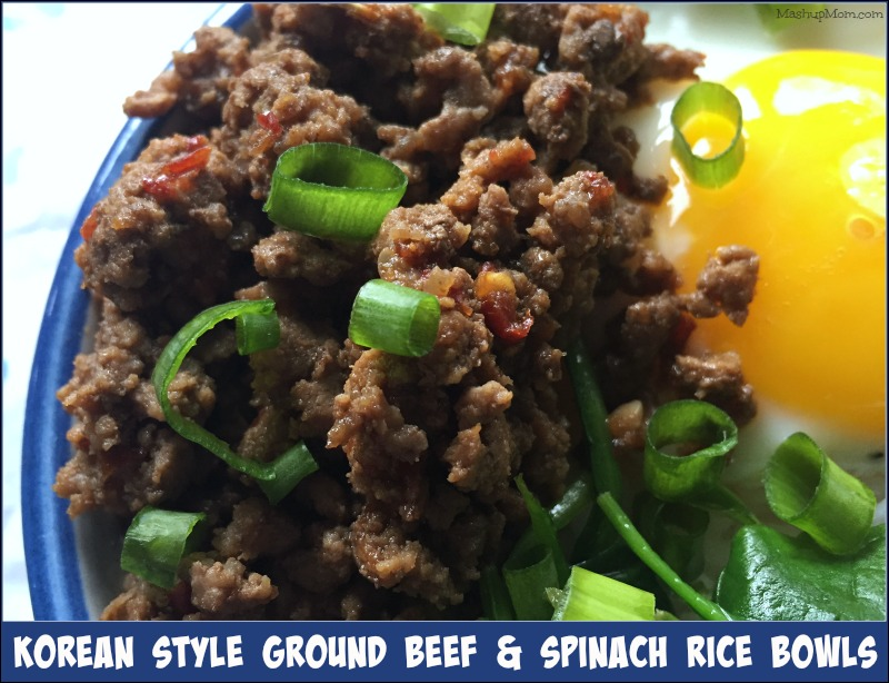 Korean Style Ground Beef & Spinach Rice Bowls -- This flavorful, budget-friendly, all-in-one, 30-minute meal idea uses just one pound of ground beef to feed four (when bulked up with the rice, eggs, and spinach).
