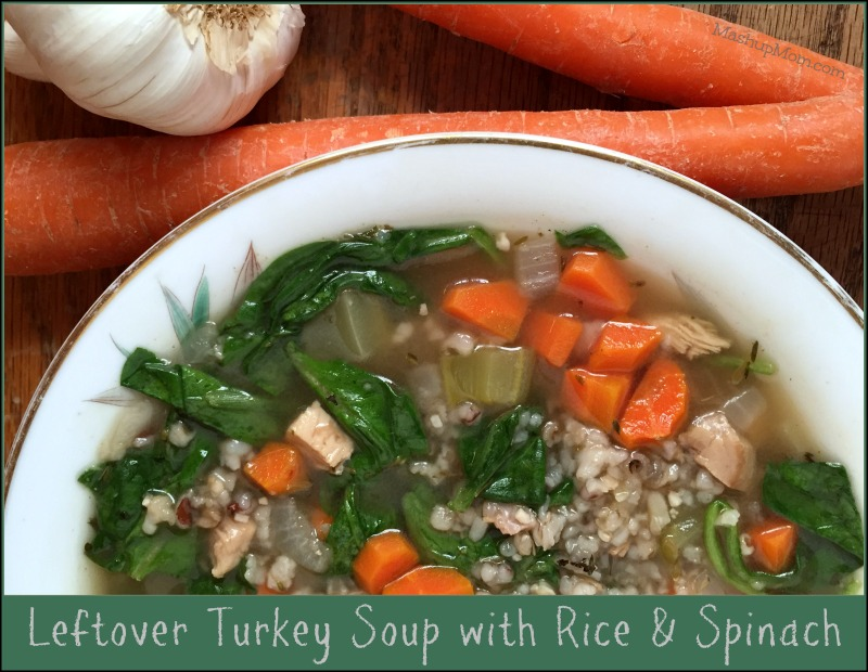 This leftover turkey soup with rice and spinach recipe is flavorful and filling, chock full of rice, turkey, and veggies -- and the perfect way to make a little of your Thanksgiving turkey into something completely new!