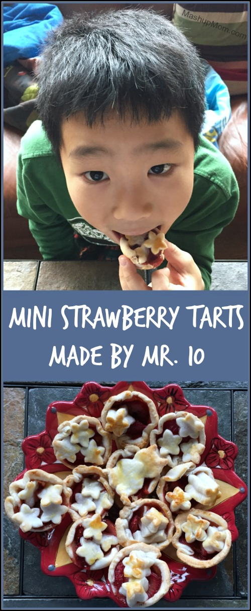 Mini Strawberry Tarts is an easy-peasy recipe to make with your own kids -- or to let them make for you!