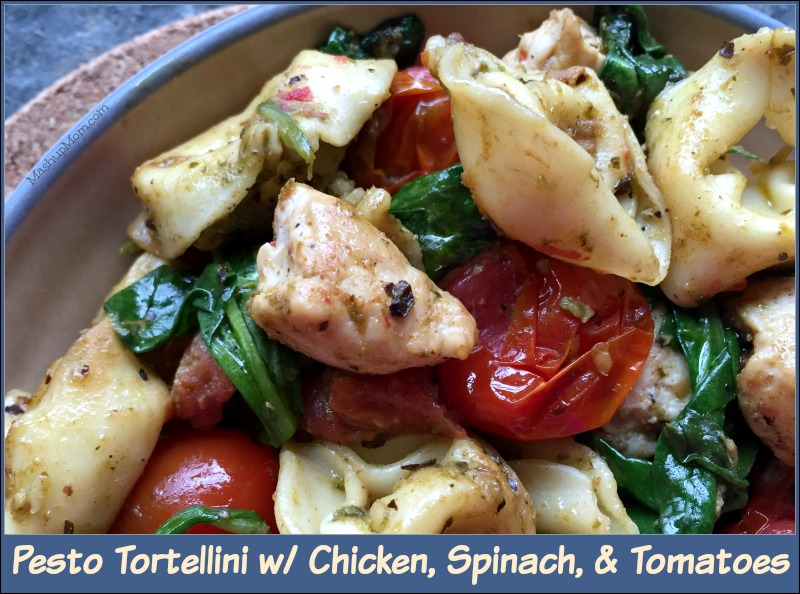 This pesto tortellini with chicken, spinach, and tomatoes recipe is super flavorful, especially considering how few ingredients you're actually using here!