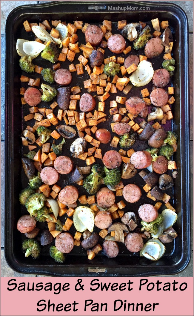 Just a touch of sage and cinnamon work together to make this sausage & sweet potato sheet pan dinner a satisfying & savory all-in-one dinner recipe for a cool fall or winter's day. This easy sheet pan dinner recipe is also naturally gluten free.