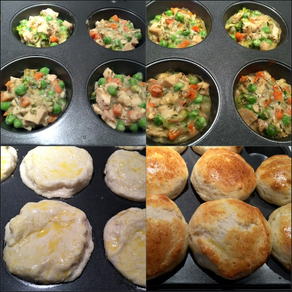 Upside-Down Mini Biscuit Pot Pies: This comfort food in a biscuit recipe turned out to be a tasty and different way to use up a little leftover Thanksgiving turkey, although upside-down pot pies would work equally well with leftover cooked chicken.