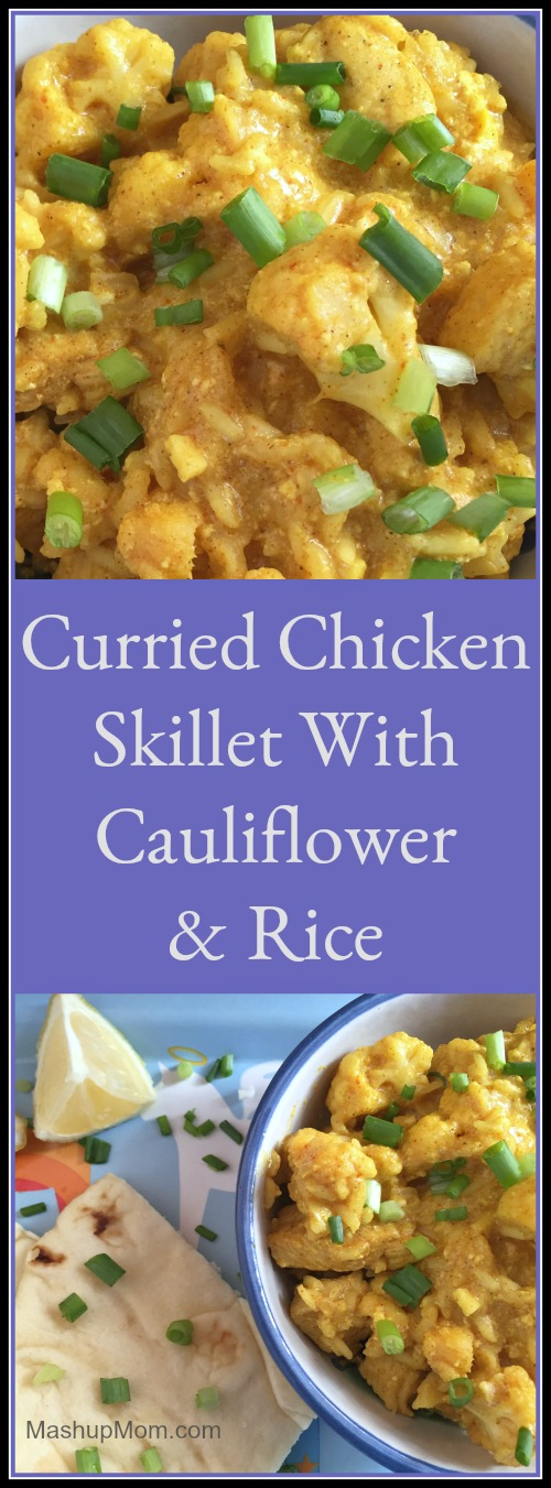 You need just 45 minutes to make this shortcut curried chicken skillet recipe, which is super filling, super flavorful, and naturally gluten free! Try this chicken curry with cauliflower & rice the next time you want to shake up your weeknight dinner routine.