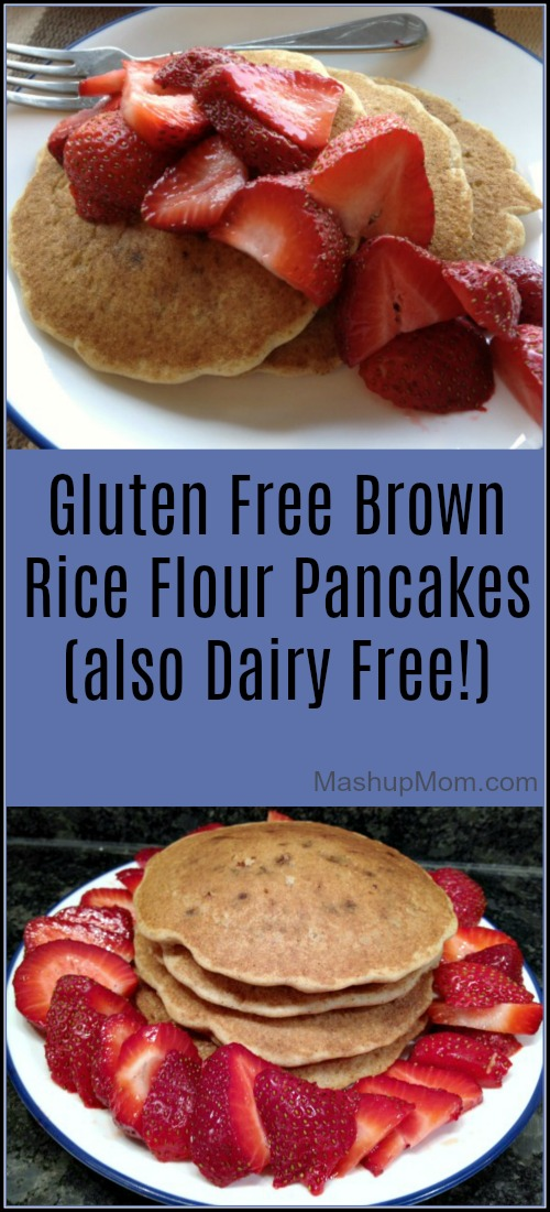 Gluten Free Brown Rice Flour Pancakes are also dairy free! These tasty gluten free, dairy free pancakes contain no Xanthan gum, and are a single flour gluten free pancake recipe!