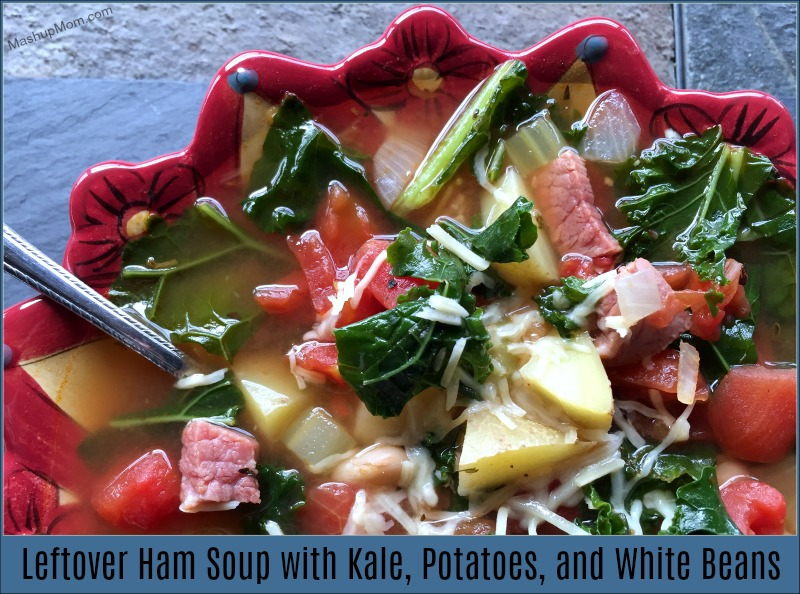 Filling and full of veggies and flavor, this leftover ham soup with kale, potatoes, and white beans hits the spot -- and warms you up on a cold winter's day! This soup recipe is also a great way to use up some leftover ham, and is naturally gluten free (as long as your ham was).